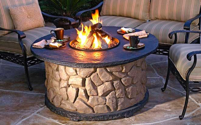 Stone fire pit table