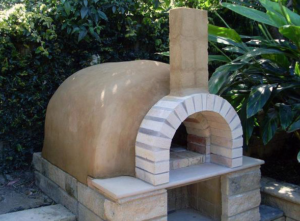 Clay pizza oven sideboard